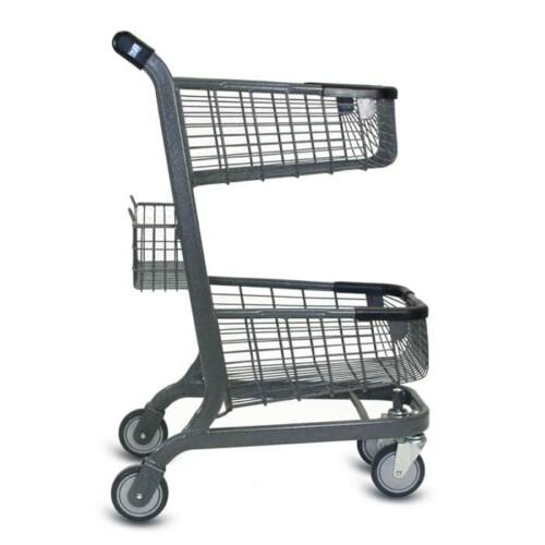 EXpress6000 two-tier metal wire shopping cart in metallic grey