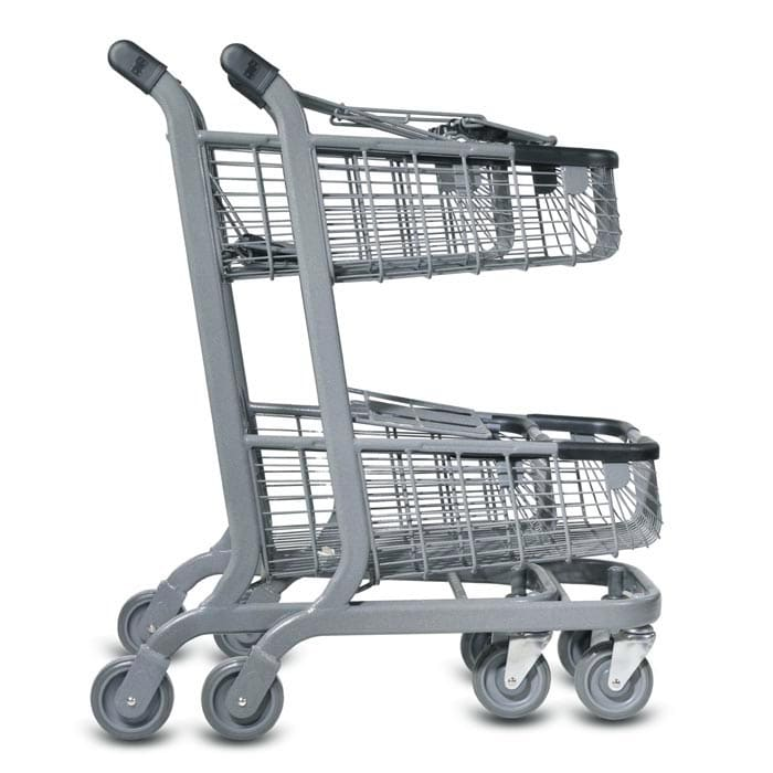 EXpress6000 two-tier wire convenience shopping cart with child seat