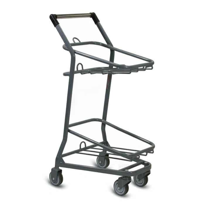 EZcart two-tier metal wire shopping basket cart in metallic grey