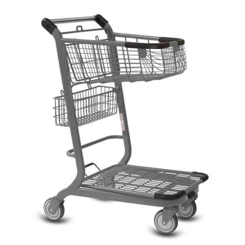EXpress3500 two-tier metal wire shopping cart with back basket and lower tray in metallic grey