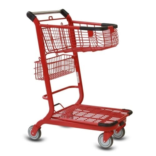 EXpress3500 two-tier metal wire shopping cart with back basket and lower tray in red