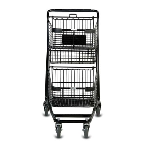 EXpress5050 two-tier metal wire shopping cart in black