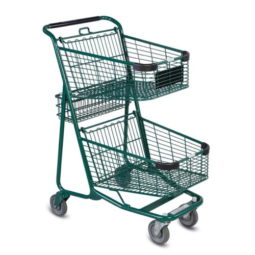 EXpress5050 two-tier metal wire shopping cart in green