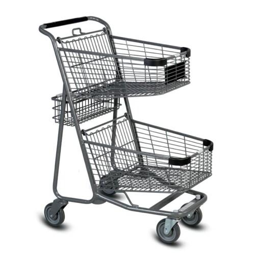 EXpress5050 two-tier metal wire shopping cart in metallic grey