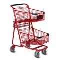 EXpress5050 two-tier metal wire shopping cart in red
