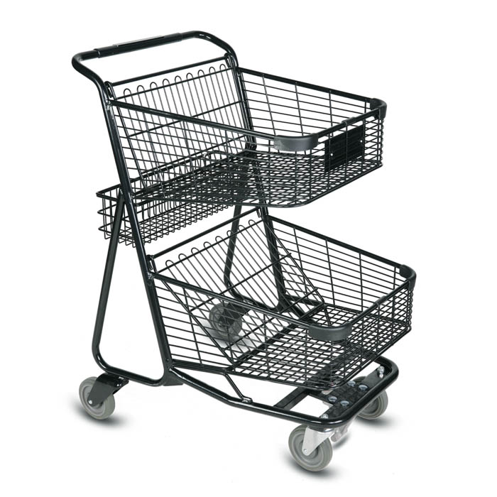 EXpress5900 two-tier metal wire shopping cart - vertical transport compatible