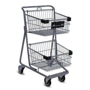 EXpress4545 two-tier metal wire shopping cart in metallic grey