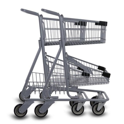 EXpress4546-T two-tier metal wire shopping cart in metallic grey