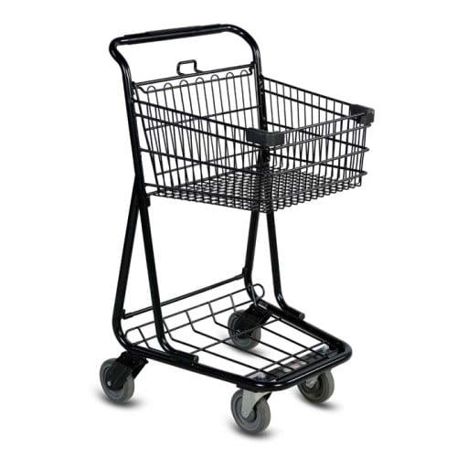 EXpress3540 two-tier metal wire shopping cart with lower tray in black