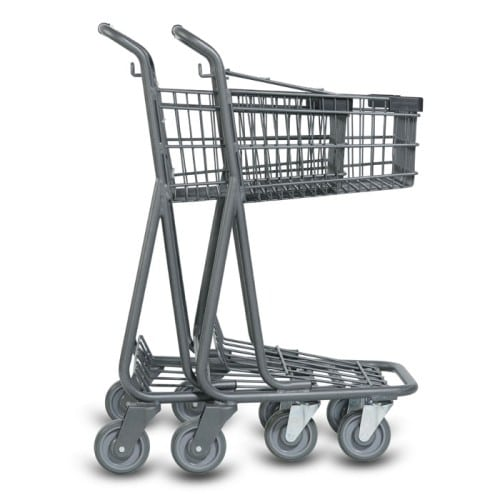 EXpress3540 two-tier metal wire shopping cart with lower tray in metallic grey