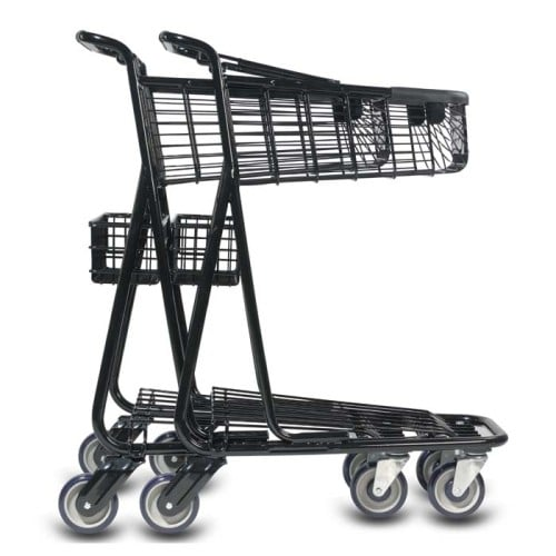 EXpress3650 two-tier metal wire shopping cart with back basket and lower tray in black