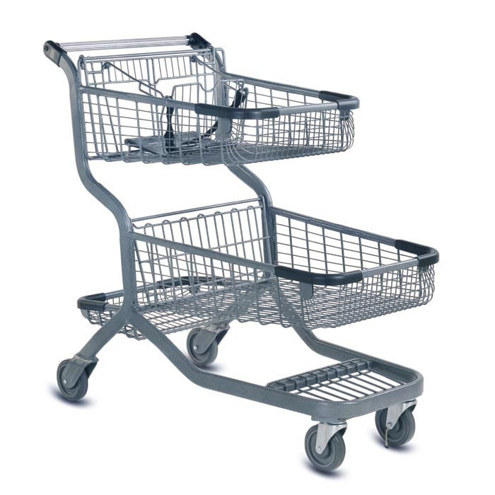 EXpress12000 two-tier metal wire shopping cart with child seat and lower tray in metallic grey