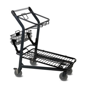 EZtote545 metal wire shopping material handling cart in dark grey