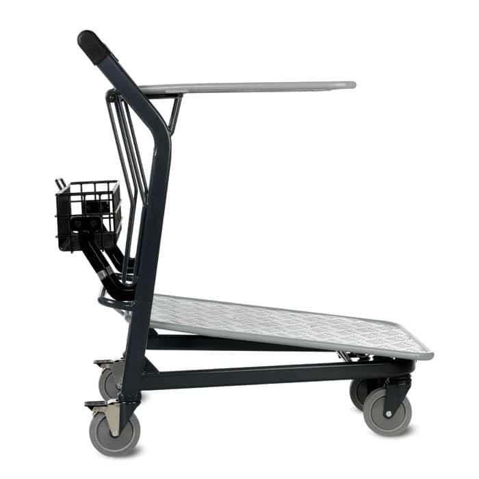 EZtote580-55 retractable tote stocking material handling cart in dark grey
