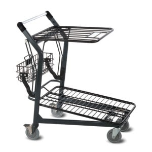 EZtote580 retractable tote stocking material handling cart in dark grey