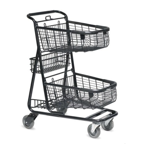 EXpress6150 two-tier metal wire shopping cart with back basket and lower tray in black