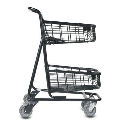 EXpress6150 two-tier metal wire shopping cart with child seat and lower tray in black