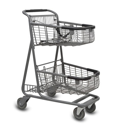 EXpress6150 two-tier metal wire grocery shopping cart with child seat and lower tray in metallic grey