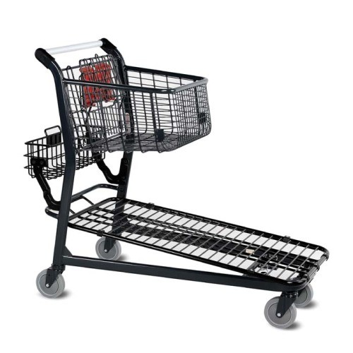 EZtote646 metal wire material handling shopping cart with child seat in dark grey