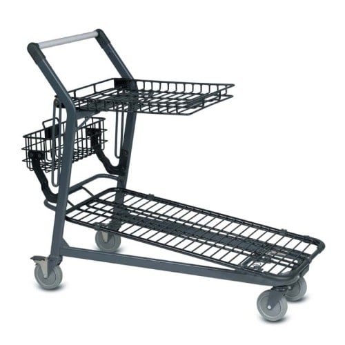 EZtote670 metal wire lawn and garden shopping cart in dark grey
