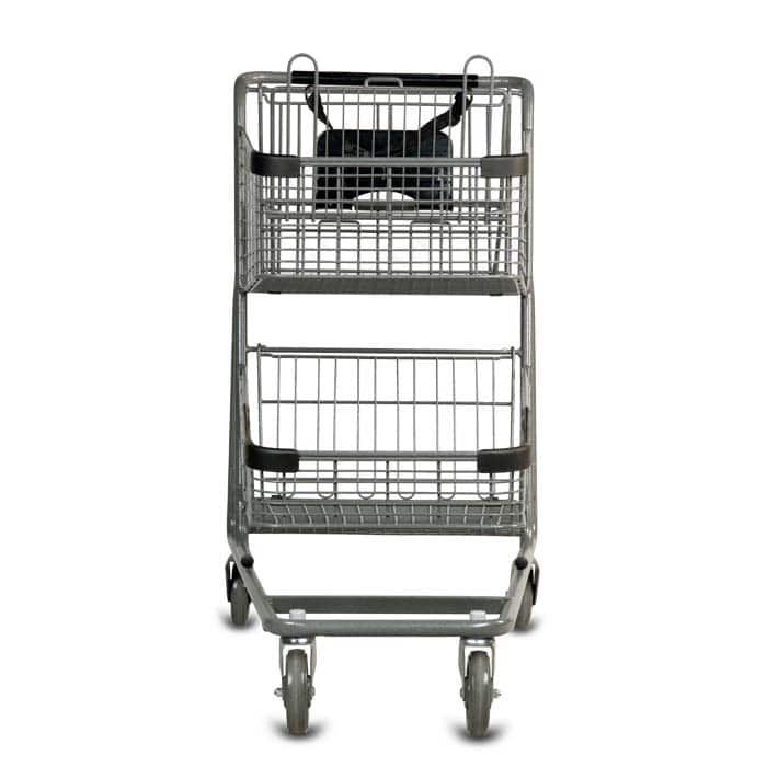 EXpress7050 two-tier metal wire shopping cart with child seat and lower tray in metallic grey