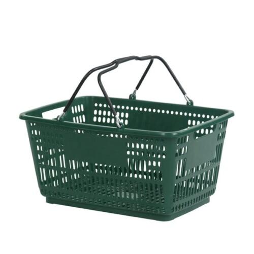 30 liter plastic hand basket with wire handles