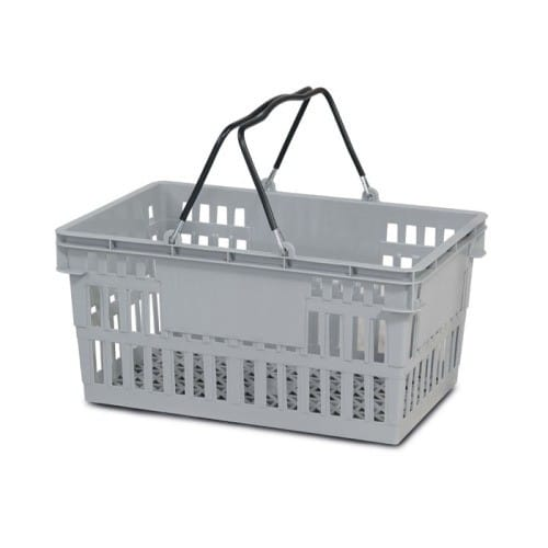 26 liter plastic hand basket with wire handles
