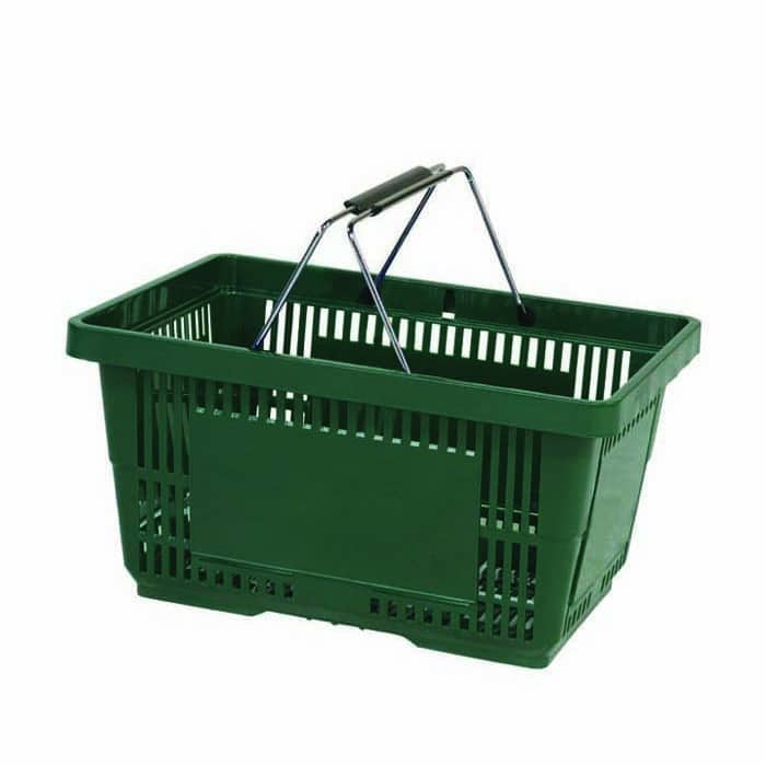 28 liter plastic hand basket with wire handles
