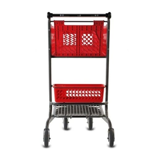 TT-150 two-tier plastic convenience shopping cart with back basket and lower tray