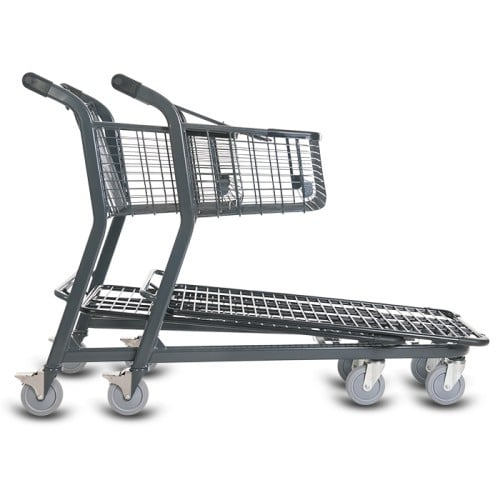 EZtote656 metal wire material handling shopping cart in dark grey