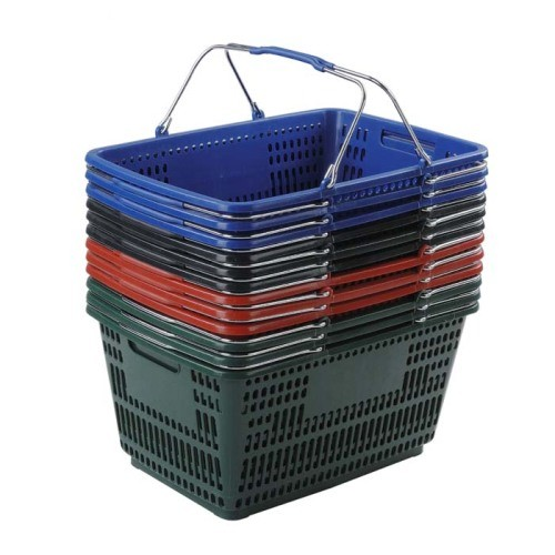 30 liter plastic hand basket with wire handles