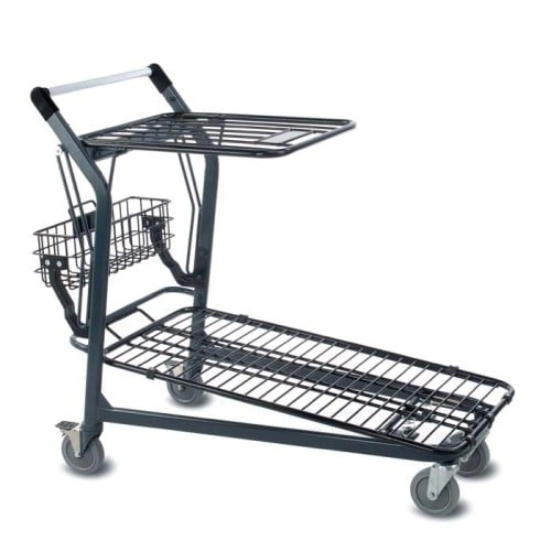 EZtote680 retractable tote stocking material handling cart in dark grey