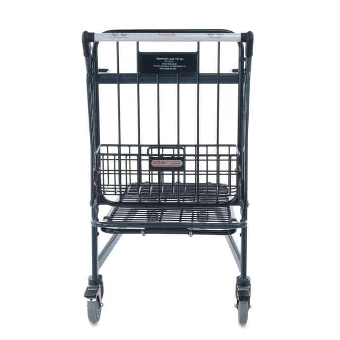 EZtote680 retractable tote stocking material handling cart in dark grey