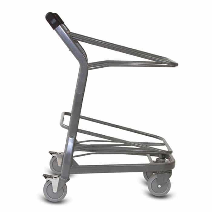 EZtote385 tote stocking material handling cart in metallic grey