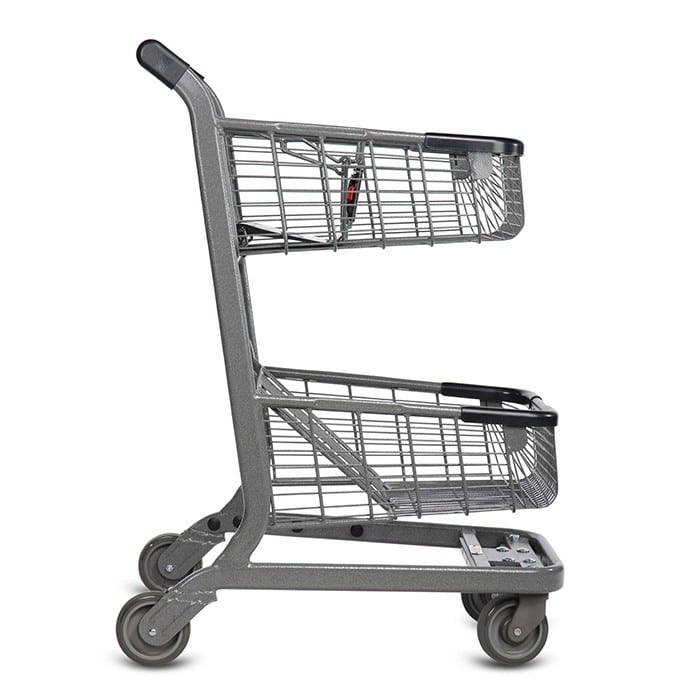 EXpress6500 two-tier metal wire shopping cart with child seat