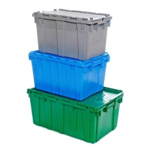 Totes, attached lid containers for shipping, picking and storage