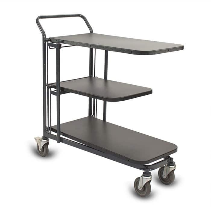 Retractable Nesting Utility Cart Model 33R with plastic shelves in dark grey