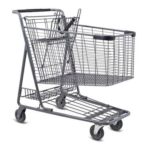 C-160-T Metal Wire Shopping Cart in Metallic Grey