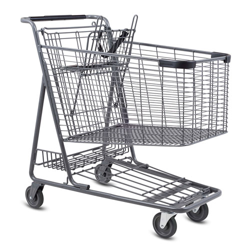 C-160-T Metal Wire Shopping Cart in Metallic Grey