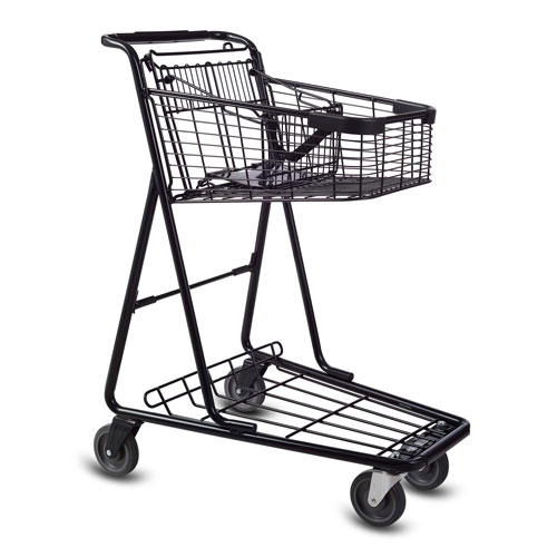 EXpress3150 metal wire convenience shopping cart with child seat in black