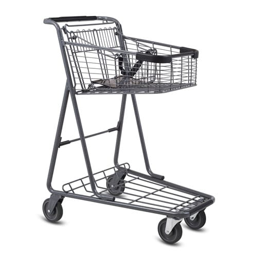 EXpress3150 metal wire convenience shopping cart with child seat in metallic grey