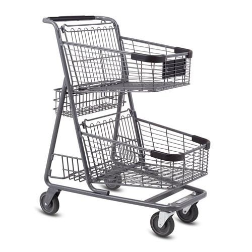 EXpress5150 metal wire convenience shopping cart in metallic grey