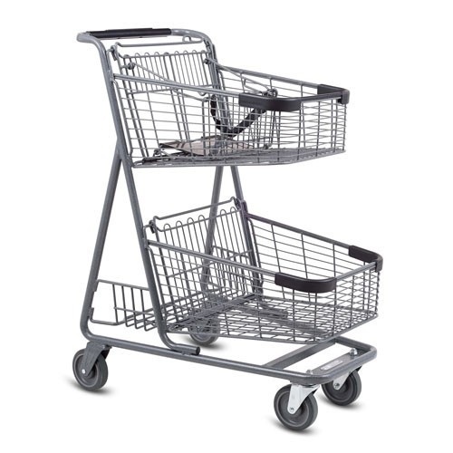EXpress5150 metal wire convenience shopping cart with child seat in metallic grey